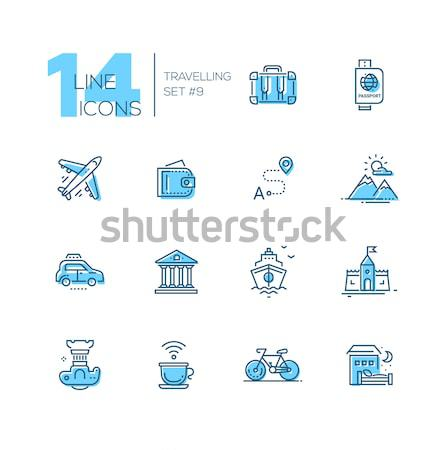Traveling - line icons set Stock photo © Decorwithme
