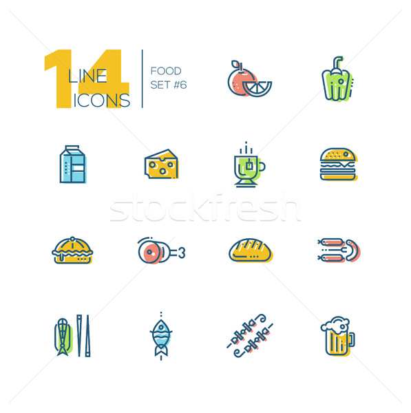 Kinds of Food Cafe Menu Thick Line Icons Set Stock photo © Decorwithme