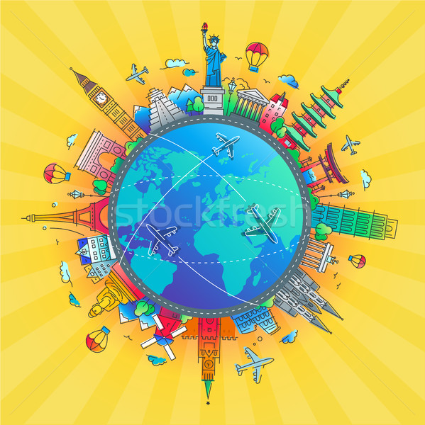 Around the World - flat design travel composition Stock photo © Decorwithme