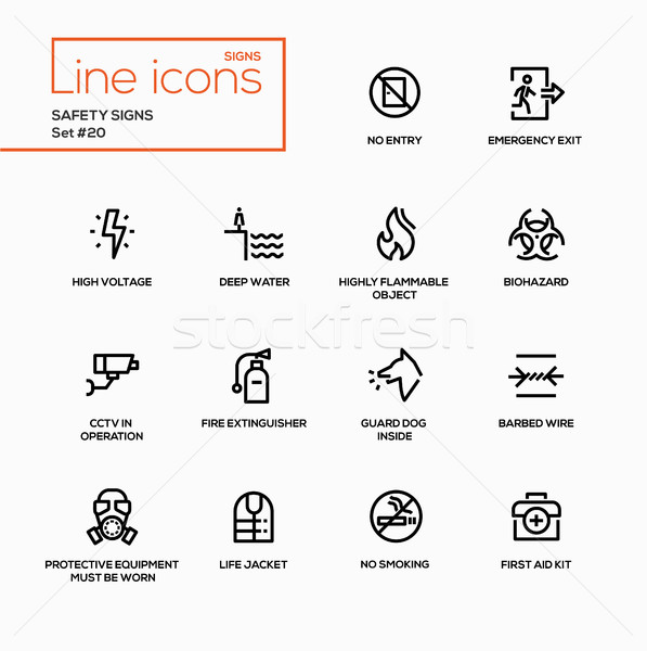 Safety Signs - modern vector single line icons set Stock photo © Decorwithme