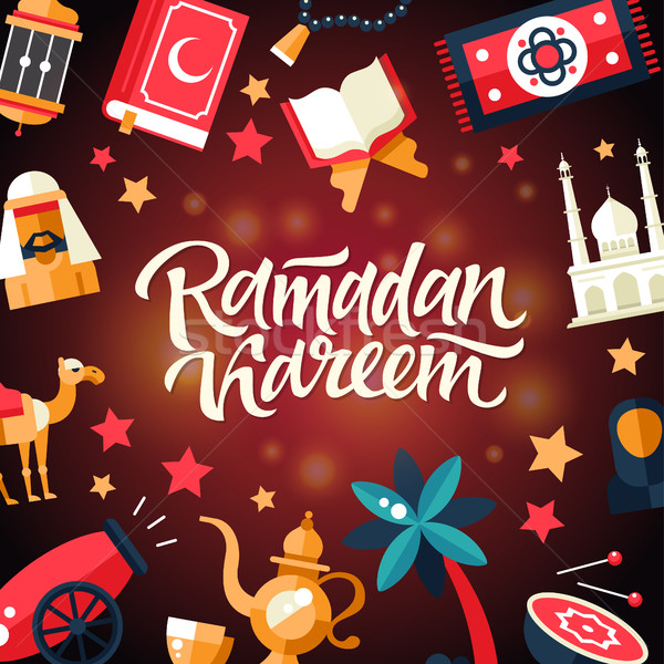 Ramadan Kareem - Postcard template with islamic culture icons Stock photo © Decorwithme