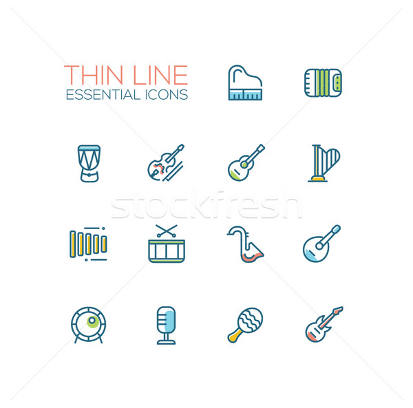 Stock photo: Musical Instruments - line icons set