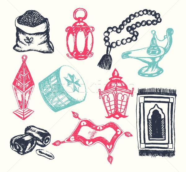 Muszlim szimbólumok vektor kézzel rajzolt illusztráció klasszikus Stock fotó © Decorwithme