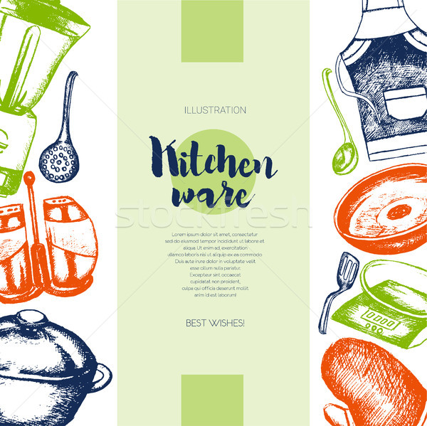 Kitchen Ware - color drawn vintage banner template. Stock photo © Decorwithme