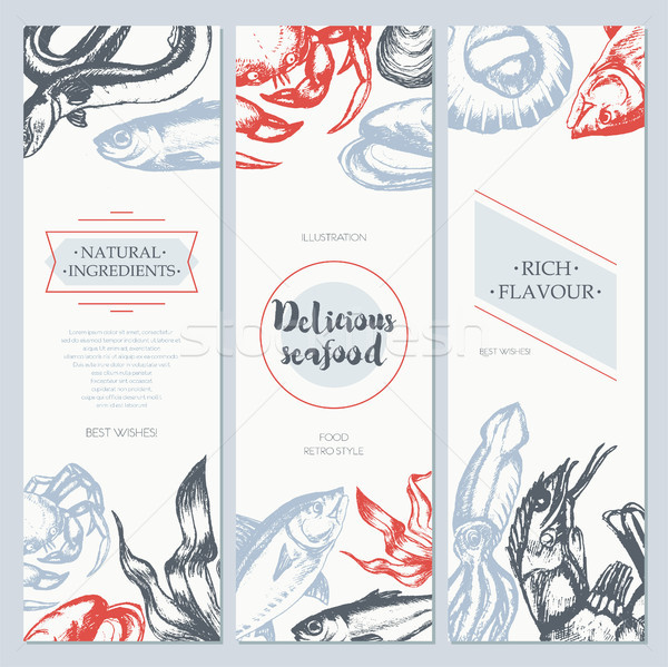 Delicious Seafood - color drawn template banner template. Stock photo © Decorwithme