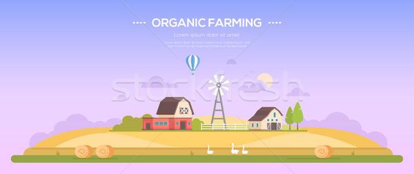 Organic farming - modern flat design style vector illustration Stock photo © Decorwithme