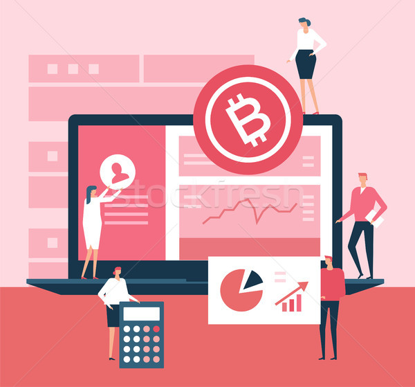 Stock photo: Cryptocurrency - flat design style illustration