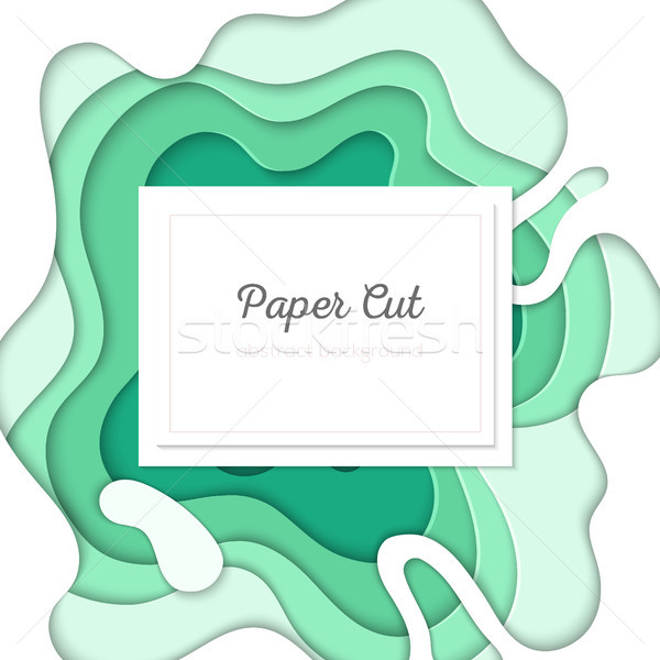 Green abstract layout - vector paper cut illustration Stock photo © Decorwithme