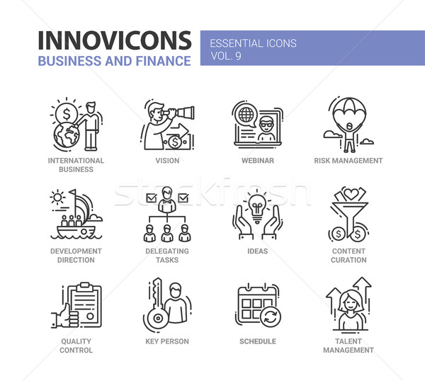 Business, finance modern thin line design icons and pictograms Stock photo © Decorwithme