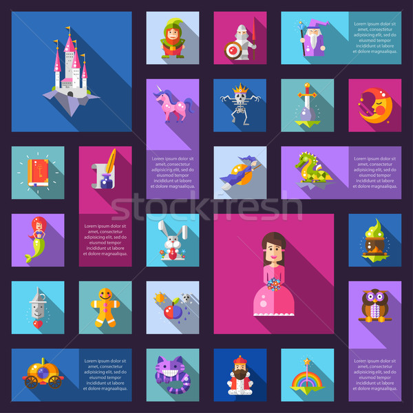 Ilustração conjunto fadas projeto magia ícones Foto stock © Decorwithme
