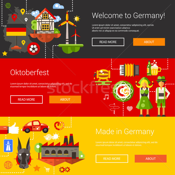 Set of flat design flyers and headers with Germany travel, touri Stock photo © Decorwithme