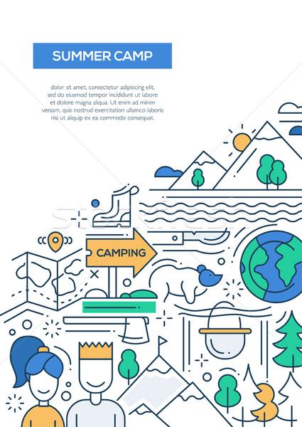 Foto d'archivio: Camping · escursioni · line · design · turismo · elementi