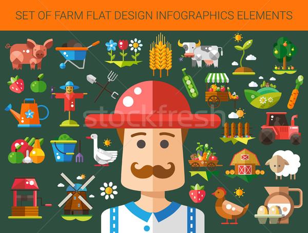 セット 現代 デザイン ファーム 農業 アイコン ストックフォト © Decorwithme