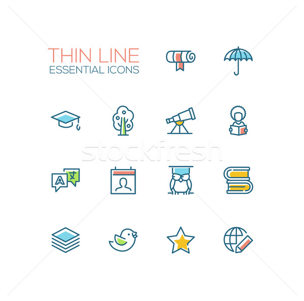 Education - Thin Single Line Icons Set Stock photo © Decorwithme