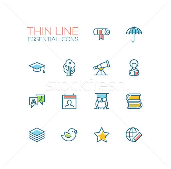 Education - Thin Single Line Icons Set Stock photo © Decorwithme