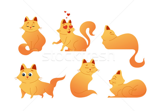 Kitty Cat - modern vector set of flat illustrations. Stock photo © Decorwithme