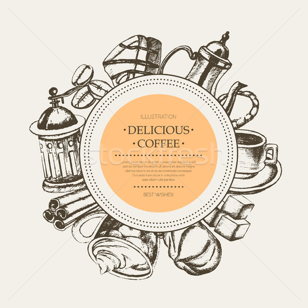 Delicious Coffee - monochromatic hand drawn round banner. Stock photo © Decorwithme