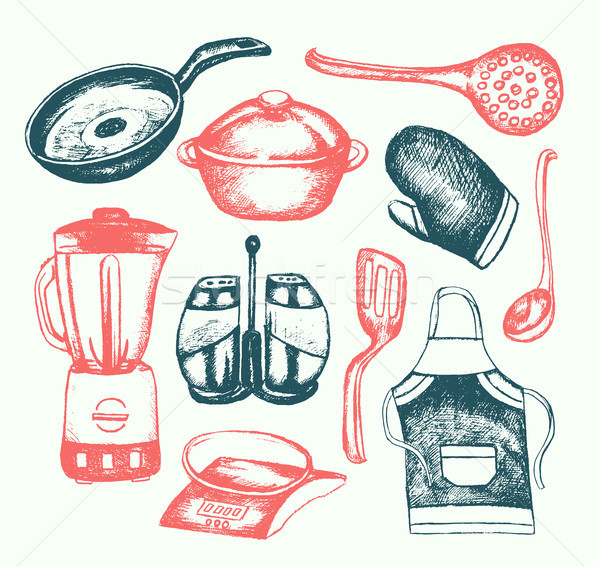 Kitchen Ware - illustration of vector vintage composition Stock photo © Decorwithme