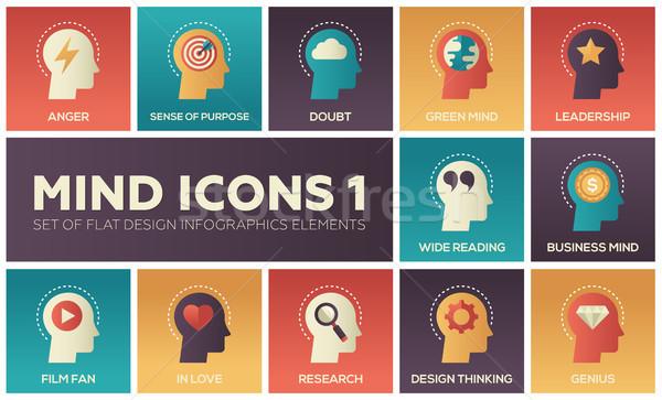 Mind icons - modern set of flat design infographics elements Stock photo © Decorwithme