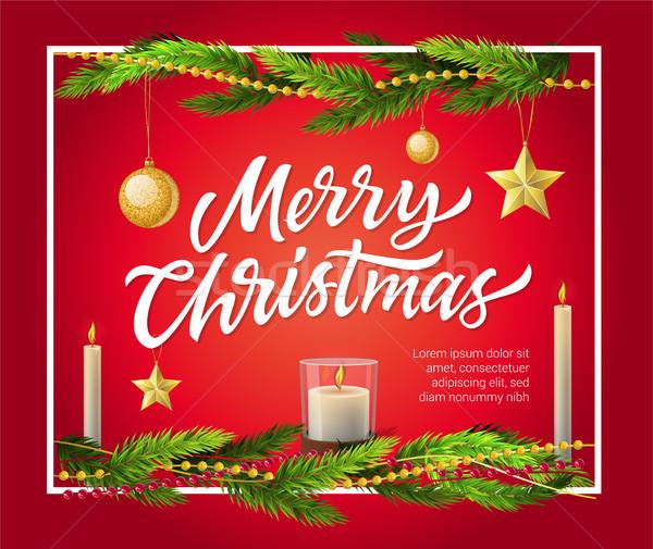 Neşeli Noel modern vektör gerçekçi örnek Stok fotoğraf © Decorwithme