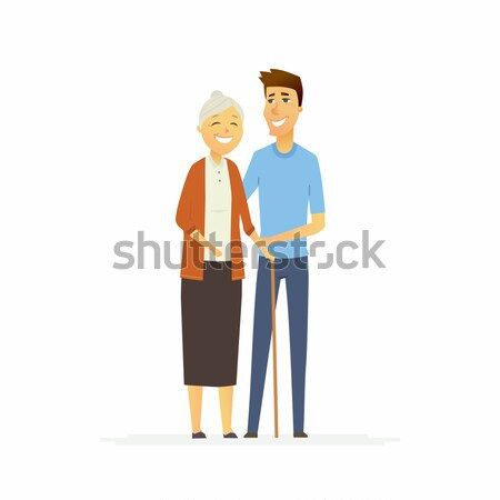 Volunteer with a senior woman - cartoon people characters isolated illustration Stock photo © Decorwithme