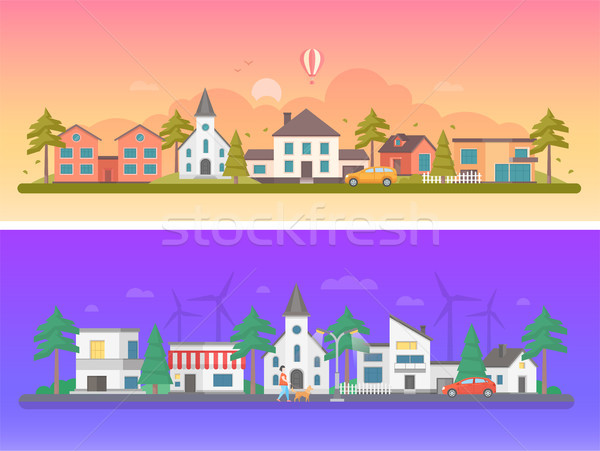 Day and night city - set of modern flat vector illustrations Stock photo © Decorwithme