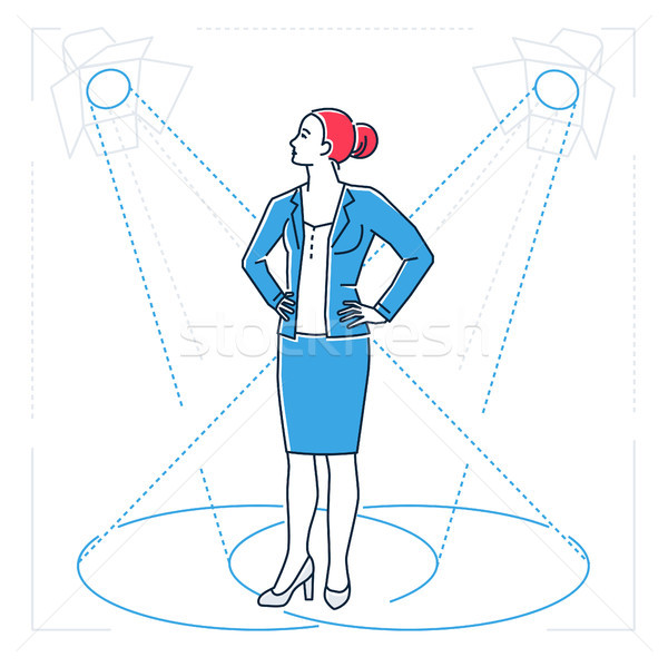 Confident businesswoman - line design style isolated illustration Stock photo © Decorwithme