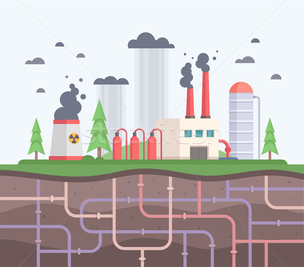Factory with underground pipes - modern flat design style vector illustration Stock photo © Decorwithme