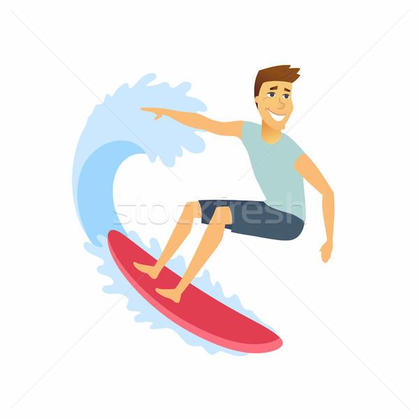 Surfer paardrijden golf karakter geïsoleerd Stockfoto © Decorwithme