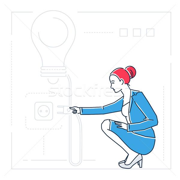 Zakenvrouw zoeken ideeën lijn ontwerp stijl Stockfoto © Decorwithme