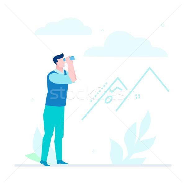 Estrategia de negocios diseno estilo ilustración blanco alto Foto stock © Decorwithme