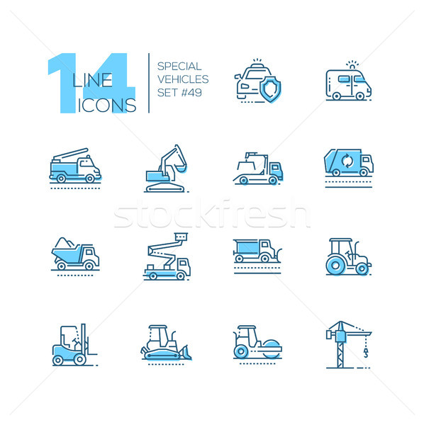 Stock photo: Special vehicles - line design blue icons set