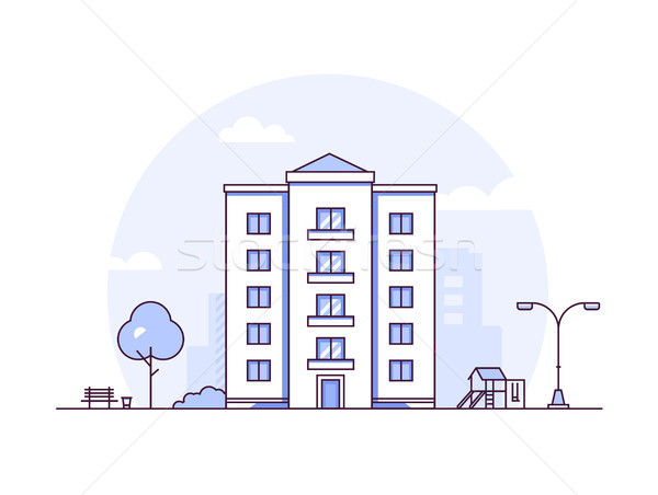 Urban landscape - modern thin line design style vector illustration Stock photo © Decorwithme