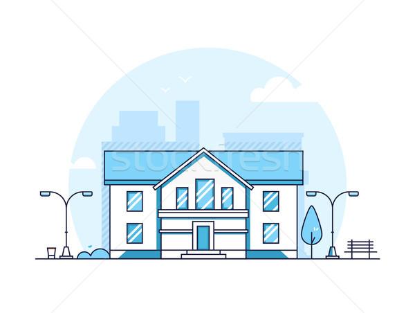 Appartement huis moderne dun lijn ontwerp Stockfoto © Decorwithme