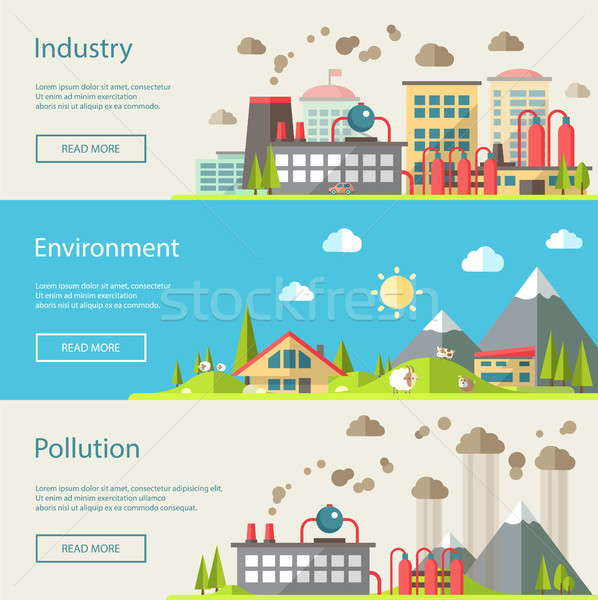 Set of modern flat design conceptual ecological illustrations Stock photo © Decorwithme
