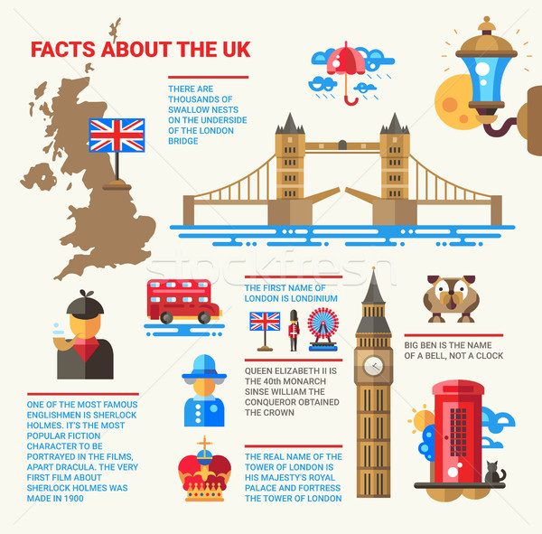 Facts about the UK poster with flat design infographic elements Stock photo © Decorwithme