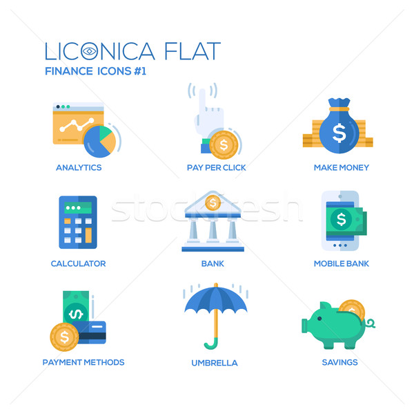 Stock photo: Modern office and business line flat design icons, pictograms set