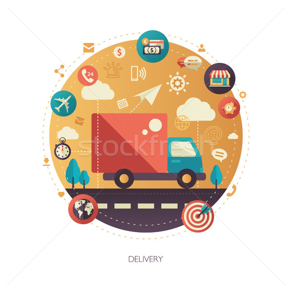 Delivery services modern flat design business infographics illustration Stock photo © Decorwithme
