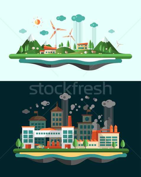 Wasted and green landscapes - ecological banners set Stock photo © Decorwithme
