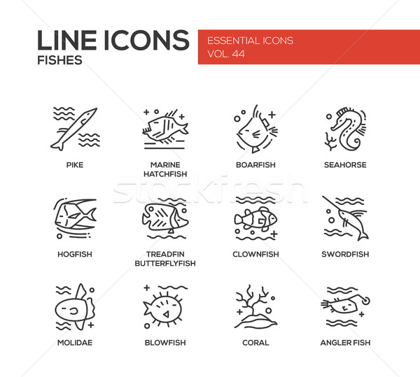 Fishes - line design icons set Stock photo © Decorwithme