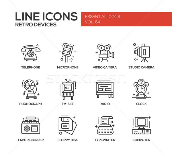 Retro Devices - line design icons set Stock photo © Decorwithme
