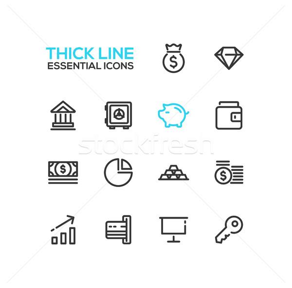 Foto stock: Negócio · financiar · símbolos · linha · projeto