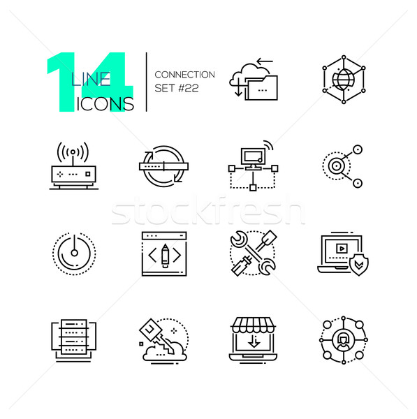 Connection - monochromatic modern single line icons set. Stock photo © Decorwithme