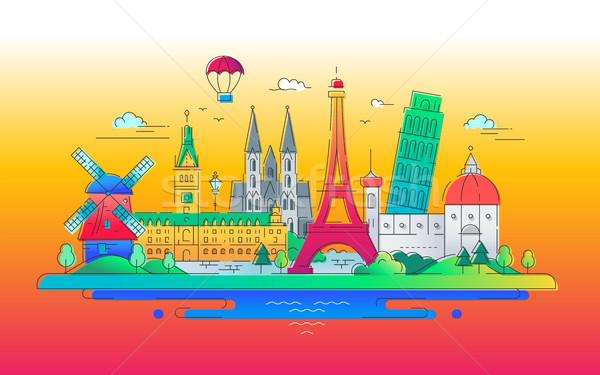 Europejski projektu słynny miasta tle architektury Zdjęcia stock © Decorwithme