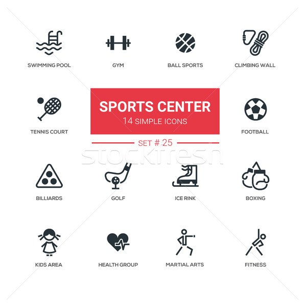 Sports center - modern simple icons, pictograms set Stock photo © Decorwithme