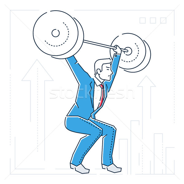 Businessman lifting a heavy bar - line design style isolated illustration Stock photo © Decorwithme