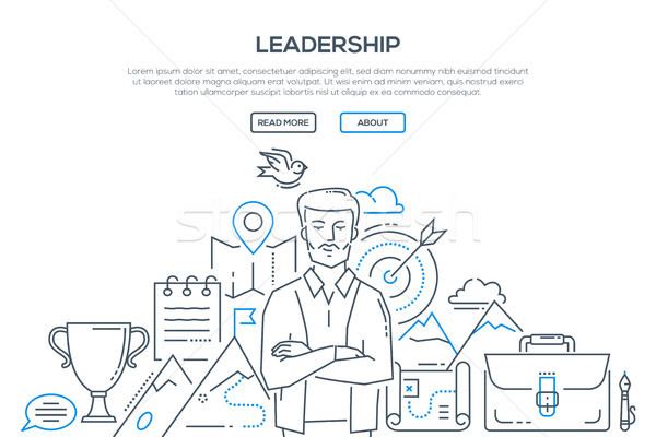 Leadership - modern line design style illustration Stock photo © Decorwithme