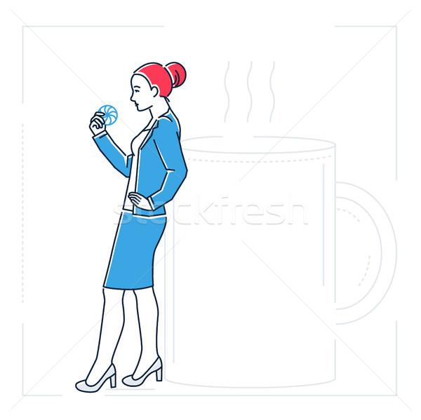 女性実業家 コーヒーブレイク 行 デザイン スタイル 孤立した ストックフォト © Decorwithme