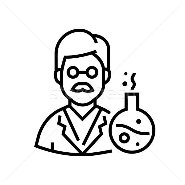 Chemistry teacher - line design single isolated icon Stock photo © Decorwithme