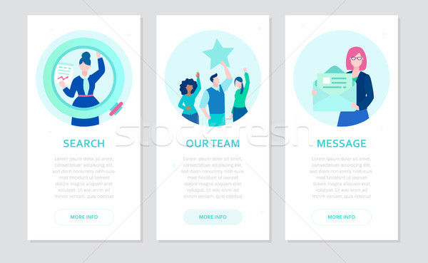 Human resource - set of flat design style banners Stock photo © Decorwithme